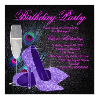 Womans Purple Peacock Birthday Party 13 Cm X 13 Cm Square Invitation Card
