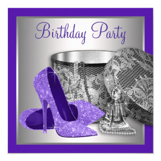 Womans Purple Silver High Heel Birthday Party Card