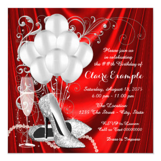 Womans Red and Silver Birthday Party Luxe 13 Cm X 13 Cm Square Invitation Card