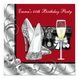 Womans Red Birthday Party 13 Cm X 13 Cm Square Invitation Card