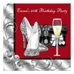 Womans Red Birthday Party Custom Invites