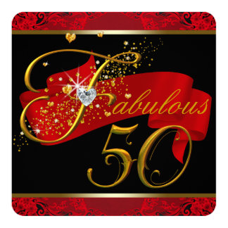 Womans Red Fabulous 50th Birthday Party 13 Cm X 13 Cm Square Invitation Card