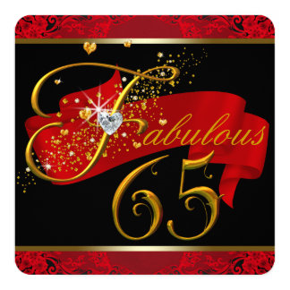 Womans Red Fabulous 65th Birthday Party Card