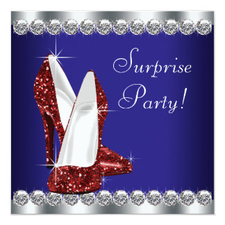 Womans Red White and Blue Birthday Party 13 Cm X 13 Cm Square Invitation Card