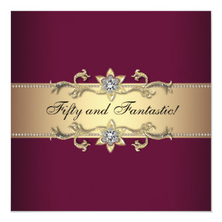 Womans Red Wine Gold 50th Birthday Party 13 Cm X 13 Cm Square Invitation Card