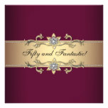 Womans Red Wine Gold 50th Birthday Party Invitations