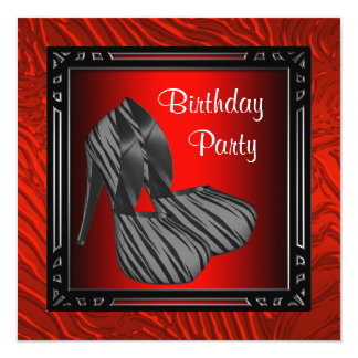Womans Red Zebra Birthday Party Card