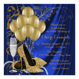 Womans Royal Blue and Gold Birthday Party Luxe 13 Cm X 13 Cm Square Invitation Card
