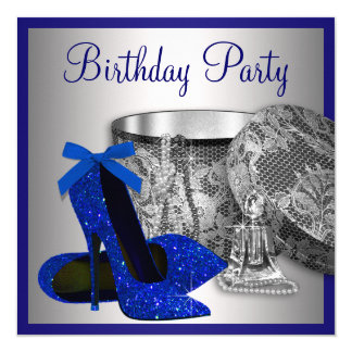 Womans Royal Blue and Silver Birthday Party 13 Cm X 13 Cm Square Invitation Card