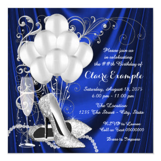 Womans Royal Blue and Silver Birthday Party Luxe 13 Cm X 13 Cm Square Invitation Card