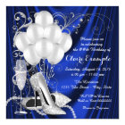 Womans Royal Blue and Silver Birthday Party Luxe Card