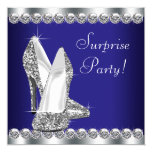 Womans Royal Blue Surprise Birthday Party 13 Cm X 13 Cm Square Invitation Card