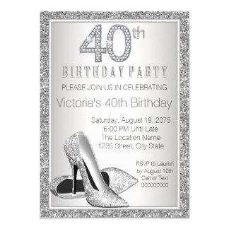Womans Silver Glitter High Heel Shoe 40th Birthday 11 Cm X 16 Cm Invitation Card