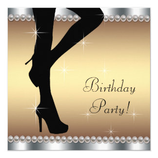 Womans Stepping Into Birthday Party 13 Cm X 13 Cm Square Invitation Card