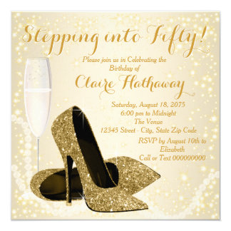 Womans Stepping into Fifty Birthday Party 13 Cm X 13 Cm Square Invitation Card