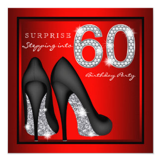 Womans Surprise 60th Birthday Party Red and Silver Card