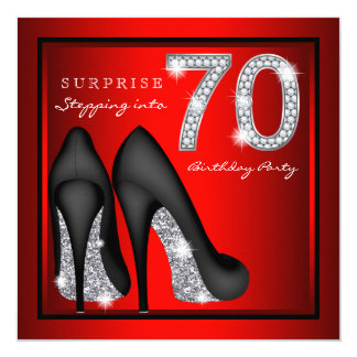Womans Surprise 70th Birthday Party Red and Silver 13 Cm X 13 Cm Square Invitation Card