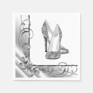 Womans Swirl Glitter High Heel Shoes Disposable Serviettes