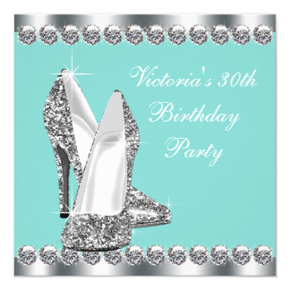 Womans Teal Blue Birthday Party Card
