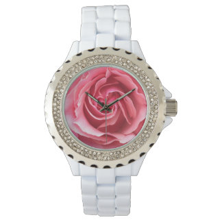 Woman's watch custom rhinestones with white enamel