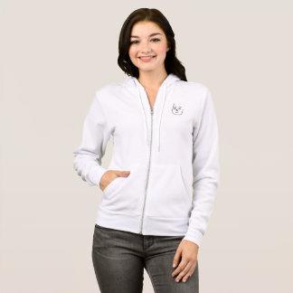 woman's white zip up hoodie