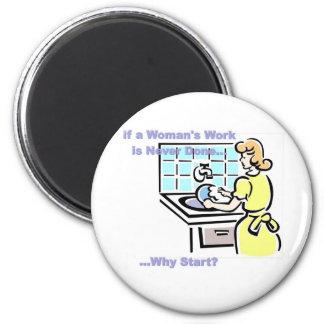 Woman's Work 6 Cm Round Magnet