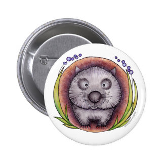 'Wombie' the wombat button badge