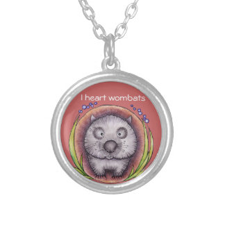 Wombie the wombat silver plated necklace