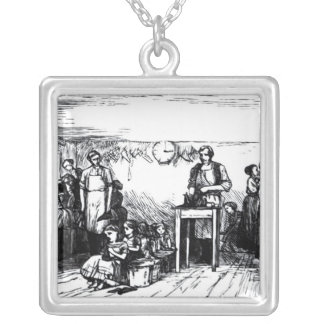 Women and Children Making Shoes Silver Plated Necklace
