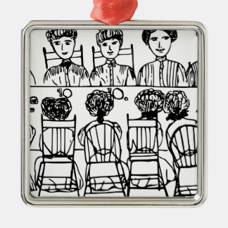 Women at a Dinner Party Silver-Colored Square Decoration
