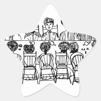 Women at a Dinner Party Star Sticker