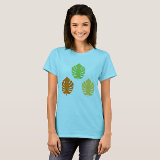 Women blue t-shirt with Exotic leaves