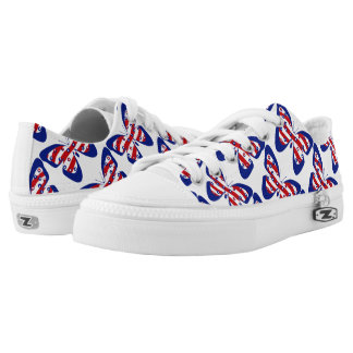 Women Canvas Shoe Blue White Red Printed Shoes