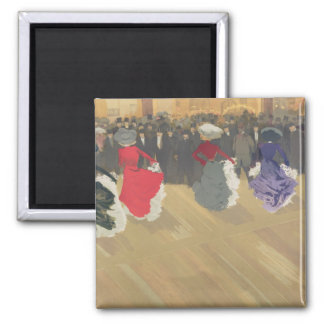 Women Dancing the Can-Can Square Magnet