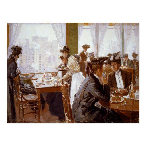 Women Dining in a Busy Restaurant Postcard