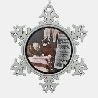 Women Enroll to Volunteer  During Wartime Pewter Snowflake Decoration