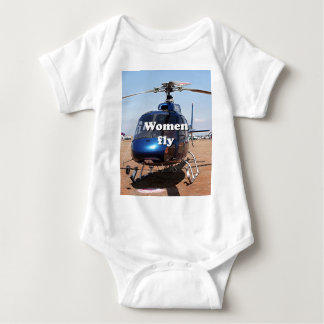 Women fly: blue helicopter baby bodysuit