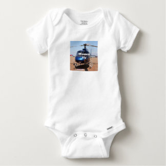 Women fly: blue helicopter baby onesie