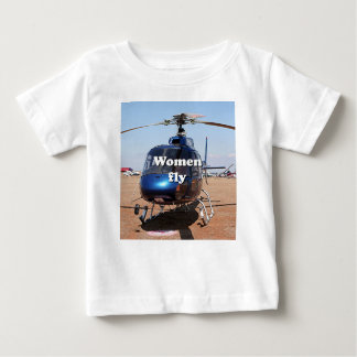 Women fly: blue helicopter baby T-Shirt