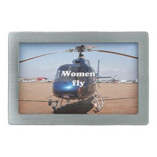 Women fly: blue helicopter belt buckle
