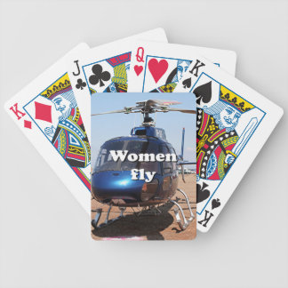 Women fly: blue helicopter bicycle playing cards