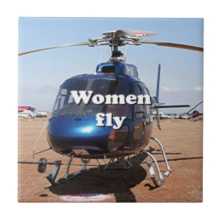 Women fly: blue helicopter ceramic tile