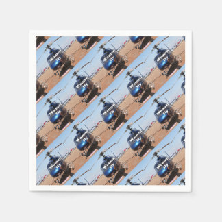 Women fly: blue helicopter disposable serviette