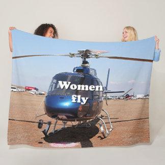 Women fly: blue helicopter fleece blanket