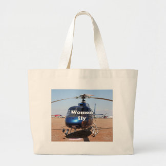 Women fly: blue helicopter large tote bag
