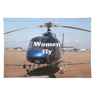 Women fly: blue helicopter placemat