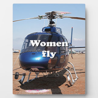 Women fly: blue helicopter plaque