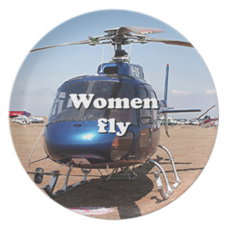 Women fly: blue helicopter plate