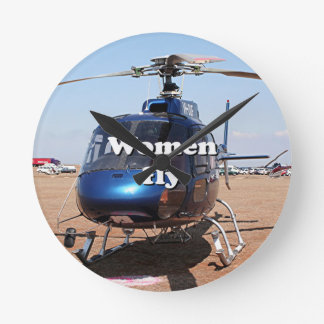 Women fly: blue helicopter round clock