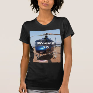Women fly: blue helicopter T-Shirt